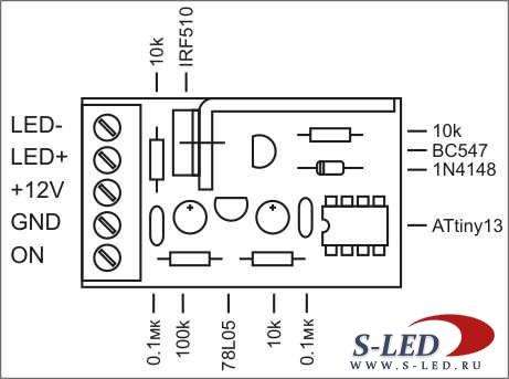 Схема плавного включения и выключения светодиодов.