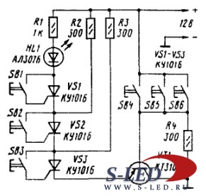 В исходном состоянии все три тиристора заперты, цепь эмиттера транзистора.