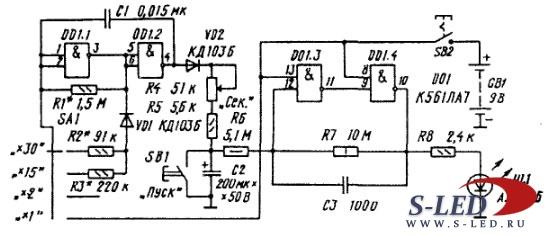 Генератор прямоугольных импульсов с с регулировкой скважности 0 и вся схема опять генератор импульсов схема с...