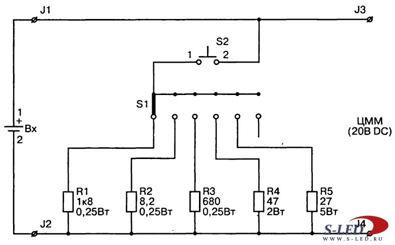 Схема нагрузочной вилки для проверки аккумуляторов