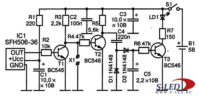 Схема тестера пульта