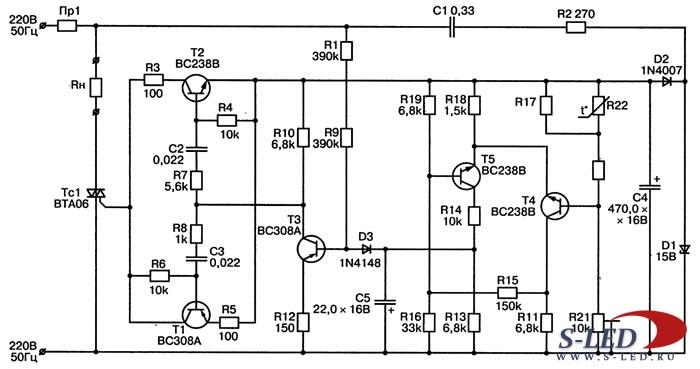 Схема простого терморегулятора