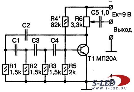 Схема простого RC-генератора