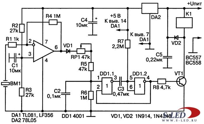 Схема детектора вибраций