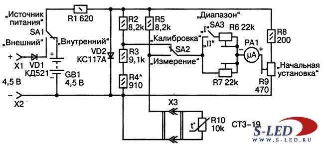 Схема мгновенного термометра