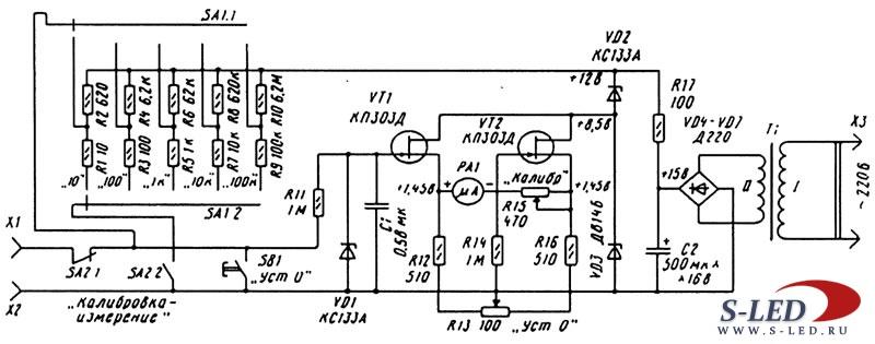 Схема простого омметра с