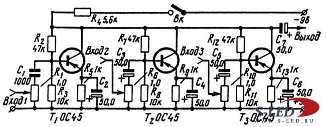 Схема транзисторного микшера