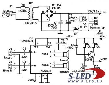 ...несомненный интерес представит простой усилитель НЧ, выполненный на микросхеме TDA8560Q от фирмы Philips.