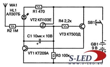 Схема искателя скрытой проводки