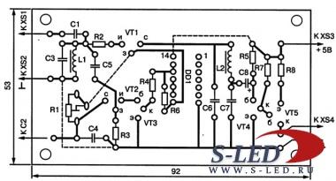 Рис. 19.  Печатная плата приемника с синхронным детектором.