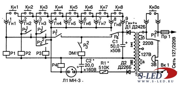 Схема кодового замка на