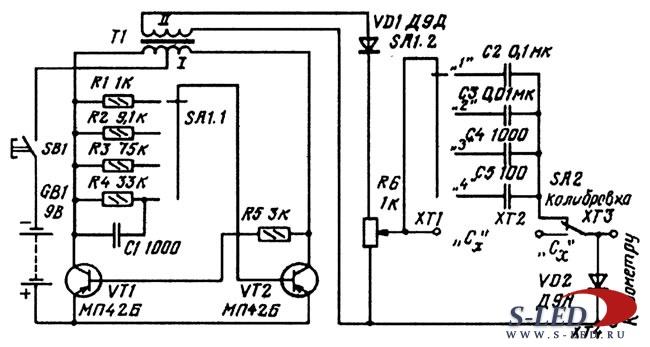 Измеритель емкости конденсаторов - Самодельные.