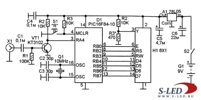 Частотомер измеряет частоту от 1 до 50000000 Гц с восьмиразрядной индикацией на однострочном 8-знаковом LCD-дисплее...