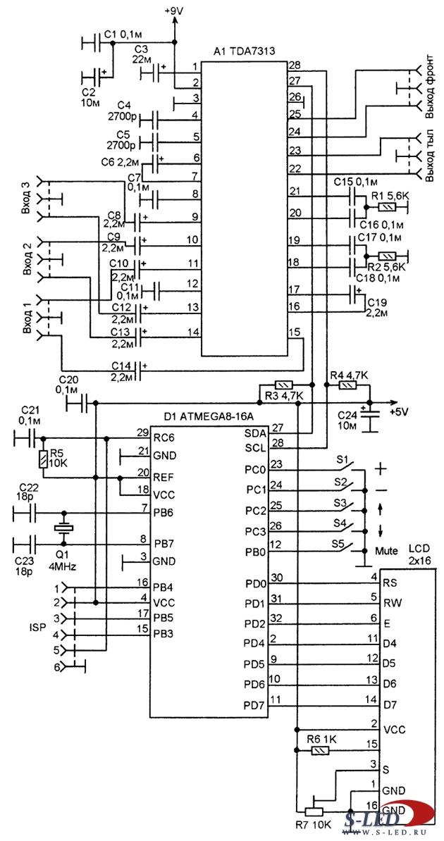 Микросхема TDA 7313 - аудиопроцессор предназначена для построения предварительного.