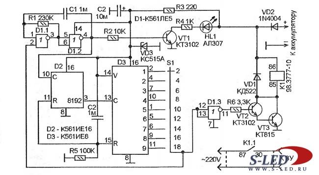 зарядка для автомобильного аккумулятора - Схемы.