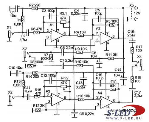 Схема микрофонного усилителя -