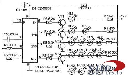 Схема хаотичного индикатора