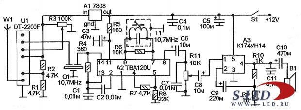 Схема УКВ-ЧМ приемника на базе