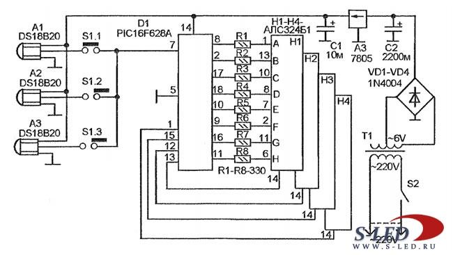 Схема бытового термометра для
