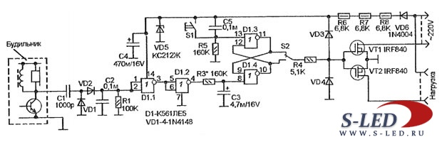 Схема цифрового таймера из