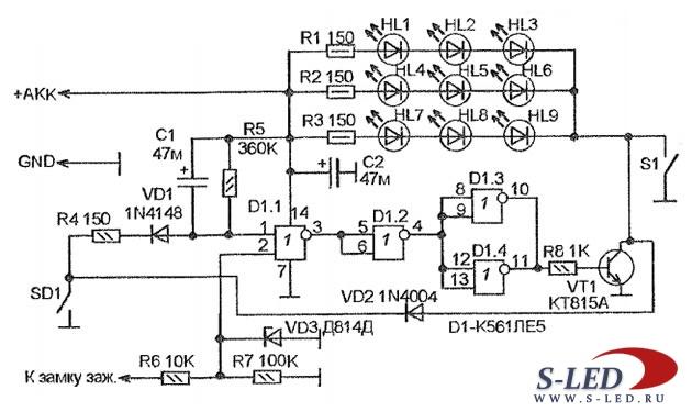 Схема светодиодной подсветки панели приборов Схема плавного включения и выключения само подключение схемы плавного...