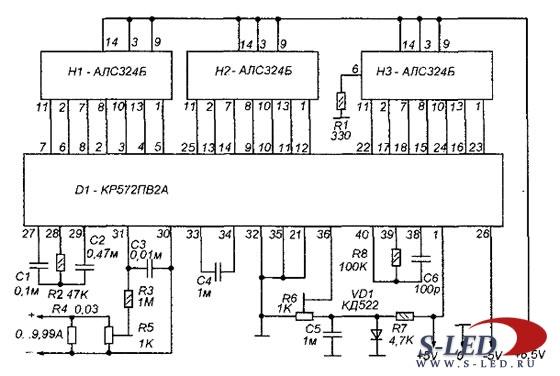 Схема индикатора лабораторного