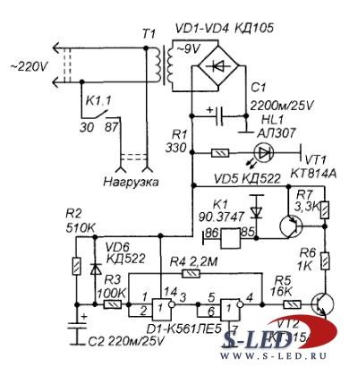 Схема магнитного пускателя для
