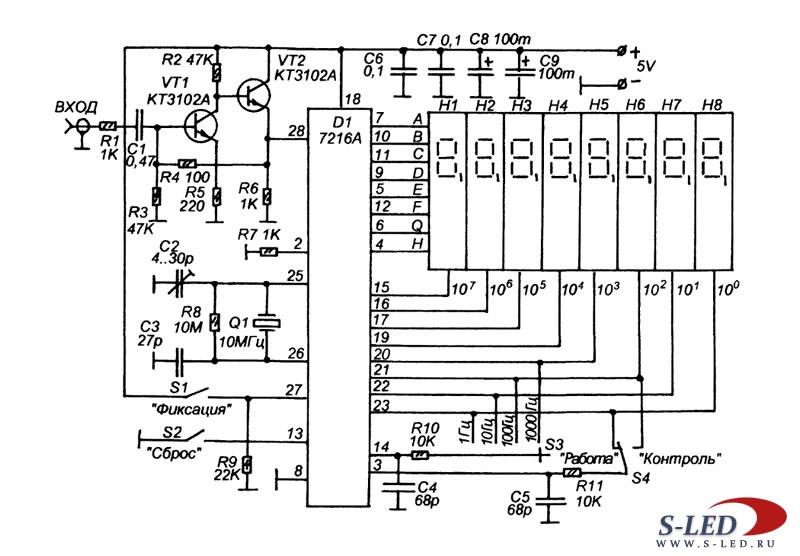 Частотомер построен на основе микросхемы 7216А, которая представляет собой универсальный счетчик состоящий из...