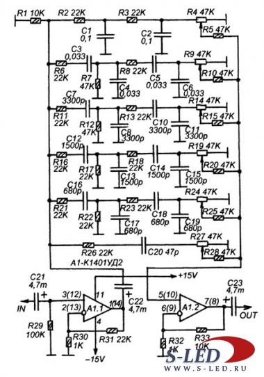 Предусилитель выполнен на одной интегральной микросхеме К1401УД2А.  Микросхема содержит четыре операционных усилителя.