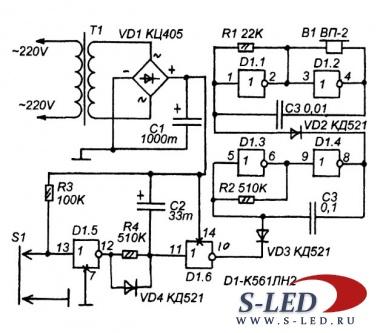Схема сигнализатора - Закрой