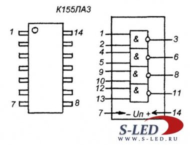 Наиболее популярная микросхема серии К155 (К555) - это К155ЛАЗ (К555ЛАЗ).  Микросхема содержит четыре логических.