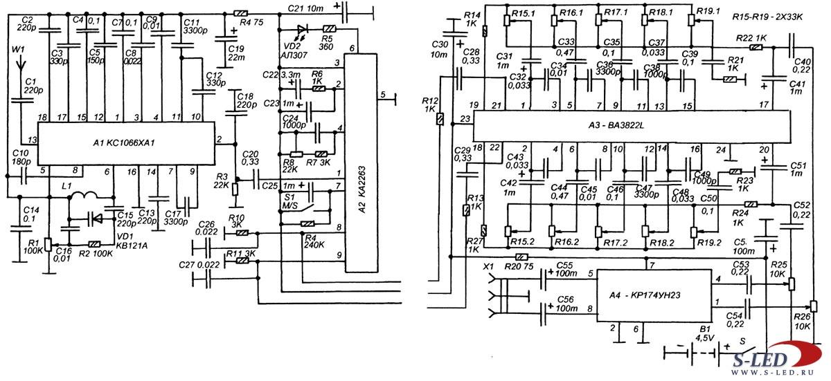 Схема стереофонического УКВ-ЧМ