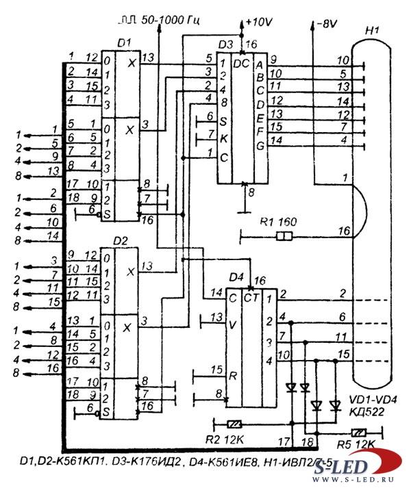 Схема узла индикации на ИВЛ