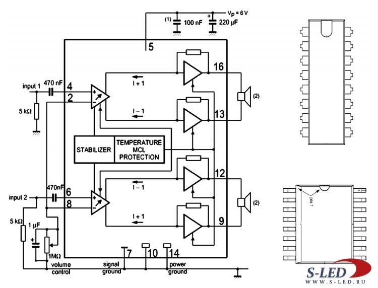 Микросхема содержит стереофонический мостовой УМЗЧ с электронным регулятором громкости, работающий в широком...