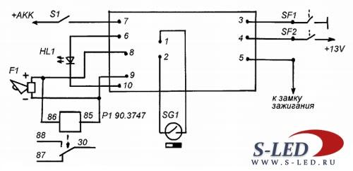 Схема сигнализации на одной
