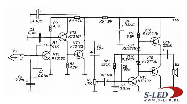 Схема транзисторного усилителя