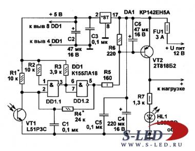 Схема фотореле на микросхеме К155ЛА18.
