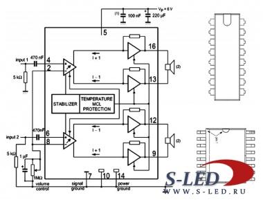 Микросхема содержит стереофонический мостовой УМЗЧ с электронным...