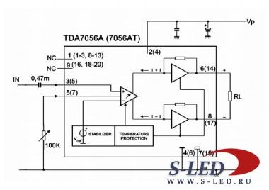 Микросхема УМЗЧ TDA7056A/AT.
