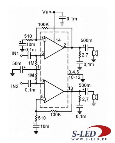 Микросхема содержит двухканальный УМЗЧ, предназначенный для работы в составе бытовой аудиотехники средней категории...