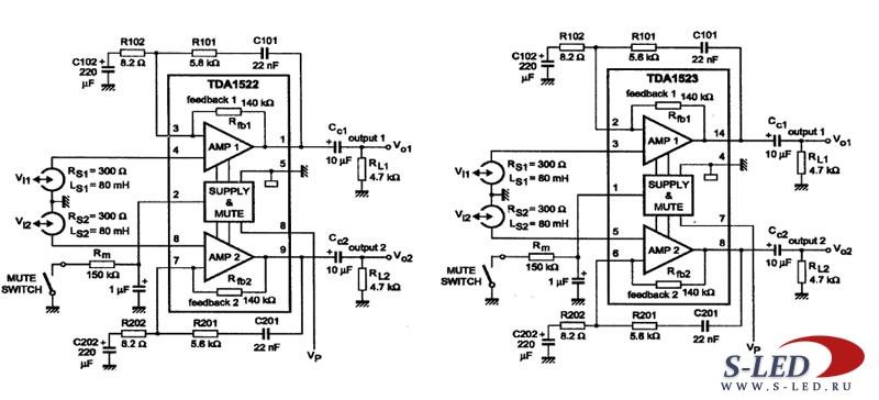Микросхема TDA1522, TDA1523