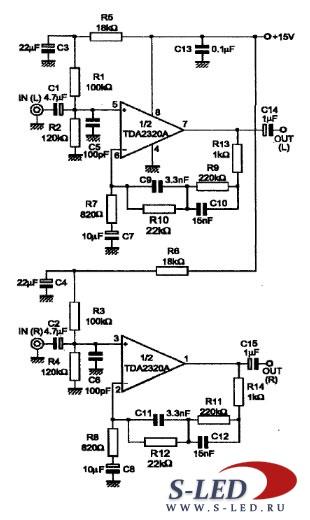 Пример схемы активного фильтра