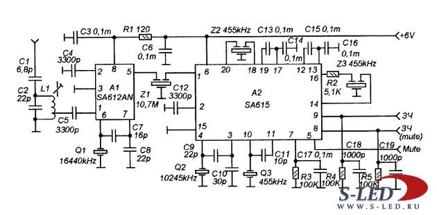Используя микросхемы SA612AN и