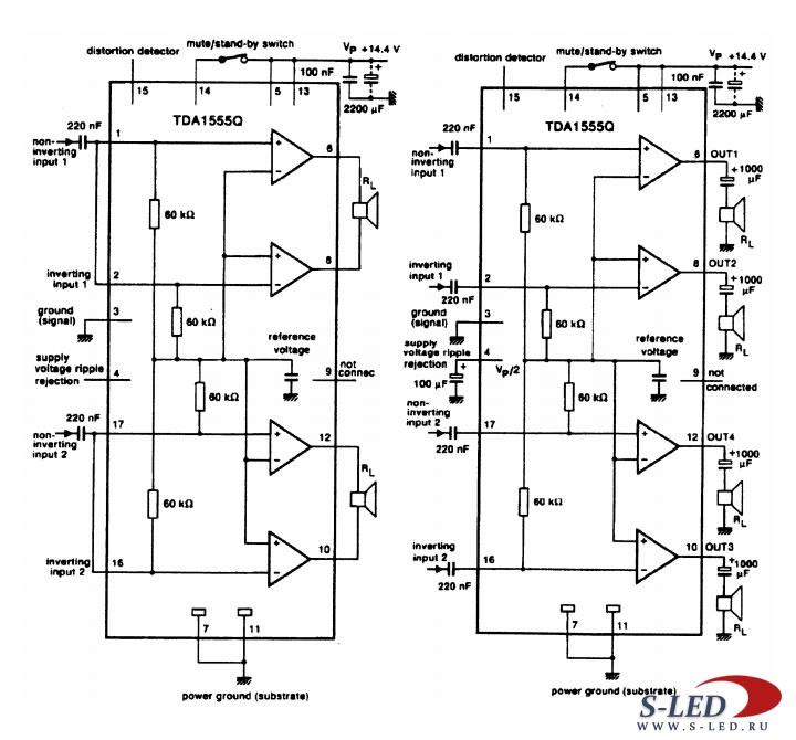 Микросхема УМЗЧ TDA1555Q