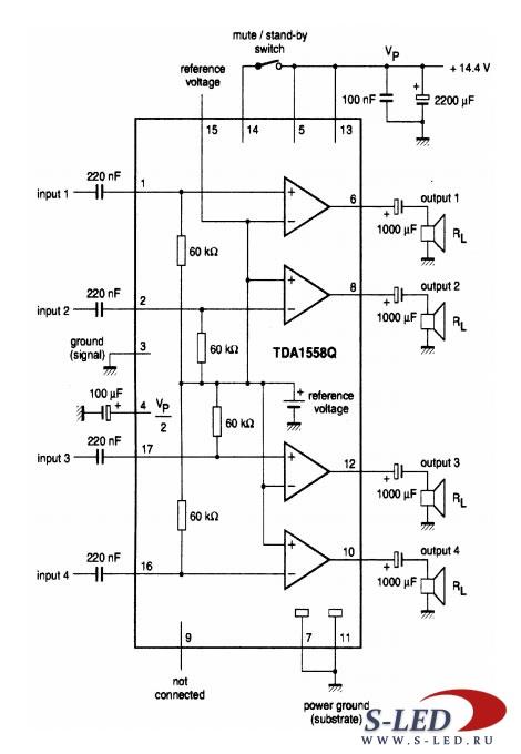 Микросхема УМЗЧ TDA1558Q