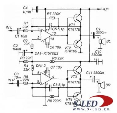 Хочу предложить схему простого УМЗЧ на операционных усилителях и транзисторах, который можно использовать в.