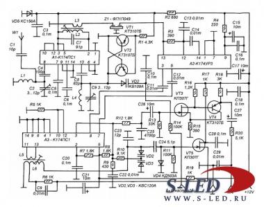 ...УКВ-ЧМ радиовещательных приемников строится либо на микросхемах с низкой ПЧ (К174ХА34) или по схеме с высокой ПЧ...
