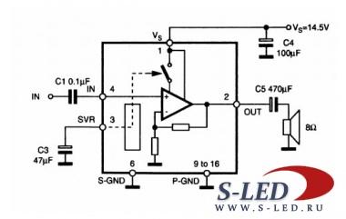Микросхема выполнена в корпусе PowerDIP с 16 выводами.