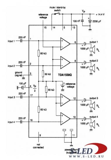 Микросхема УМЗЧ TDA1558Q.
