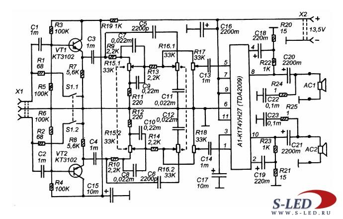 Схема стереоусилителя